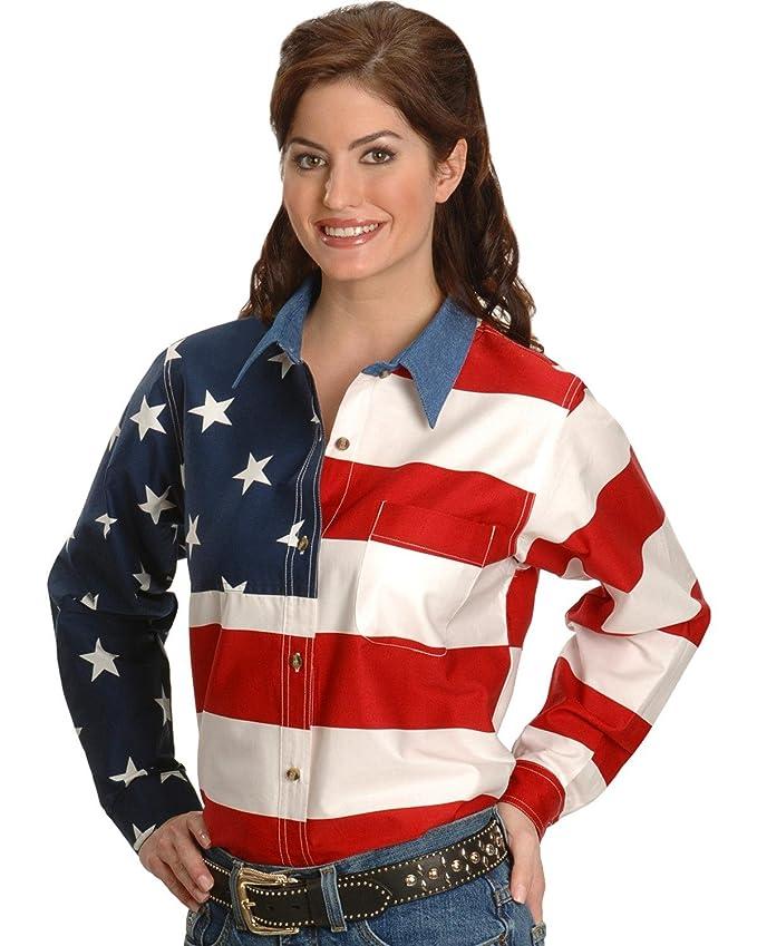 d0bdb57b Roper Women's L/S Stars and Stripes Pieced Flag