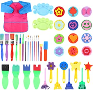 FINGOOO 42 Pieces Washable Painting Sponge Brushes Kit, Early Learning DIY Art Craft Sponge Paint Brush Washable Mini Flower Craft Painting Shapes Stamps Drawing Tools for Kids Toddlers Art Supplies G