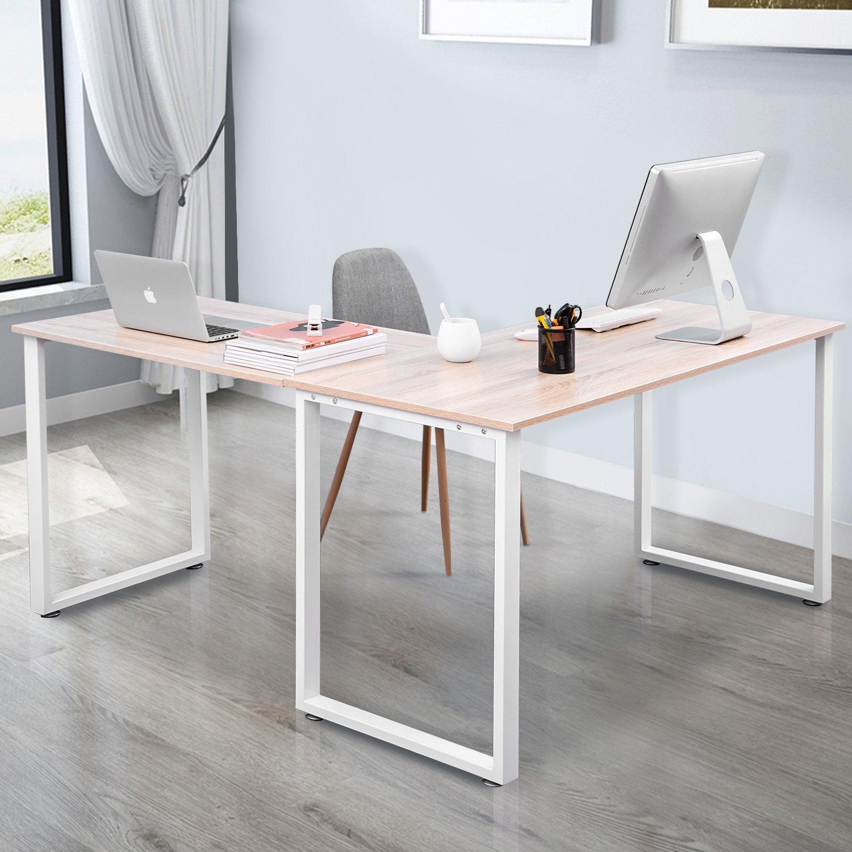 Merax L-Shaped Office Workstation Computer Desk Corner Desk Home Office Wood Laptop Table Study Desk (Oak)