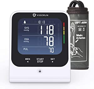 Vigorun Blood Pressure Monitor Upper Arm, Accurate Automatic Digital BP Machine Large Cuff, Large Backlit LCD, Irregular Heartbeat Detector, Memory Function for 2 Users for Home Use (White)