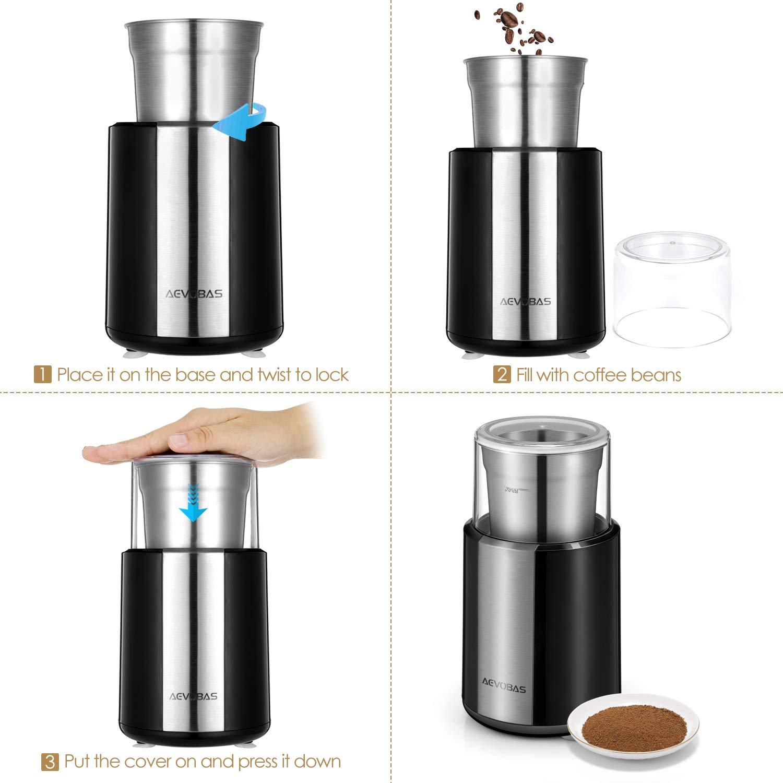 AEVOBAS Kaffeemühle Elektrisch, abnehmbarer Mahlbecher, Gewürzmühle, Pfeffermühle Edelstahl 200W, mit Reinigungsbürste, für Kaffeebohnen, Nüsse, Gewürze,mit Edelstahl Schlagmesser, mit Saugnäpfen