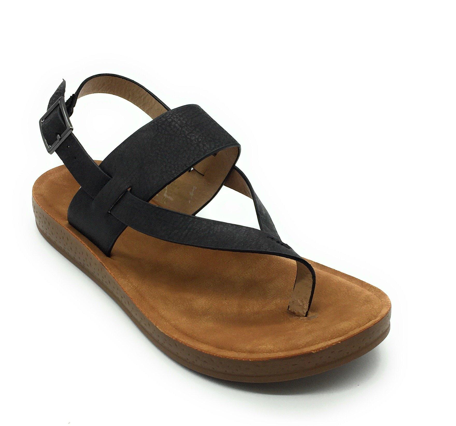 Women Cute Open Toe Comfortable Ankle Strap Platform Wedge Stylish Flexible Summer Flat Sandal, Black 8(M) US