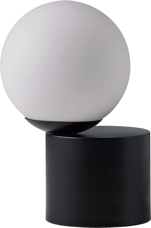 Rivet Modern Glass Globe Living Room Table Desk Lamp With LED Light Bulb - 7 x 10 Inches, Matte Black