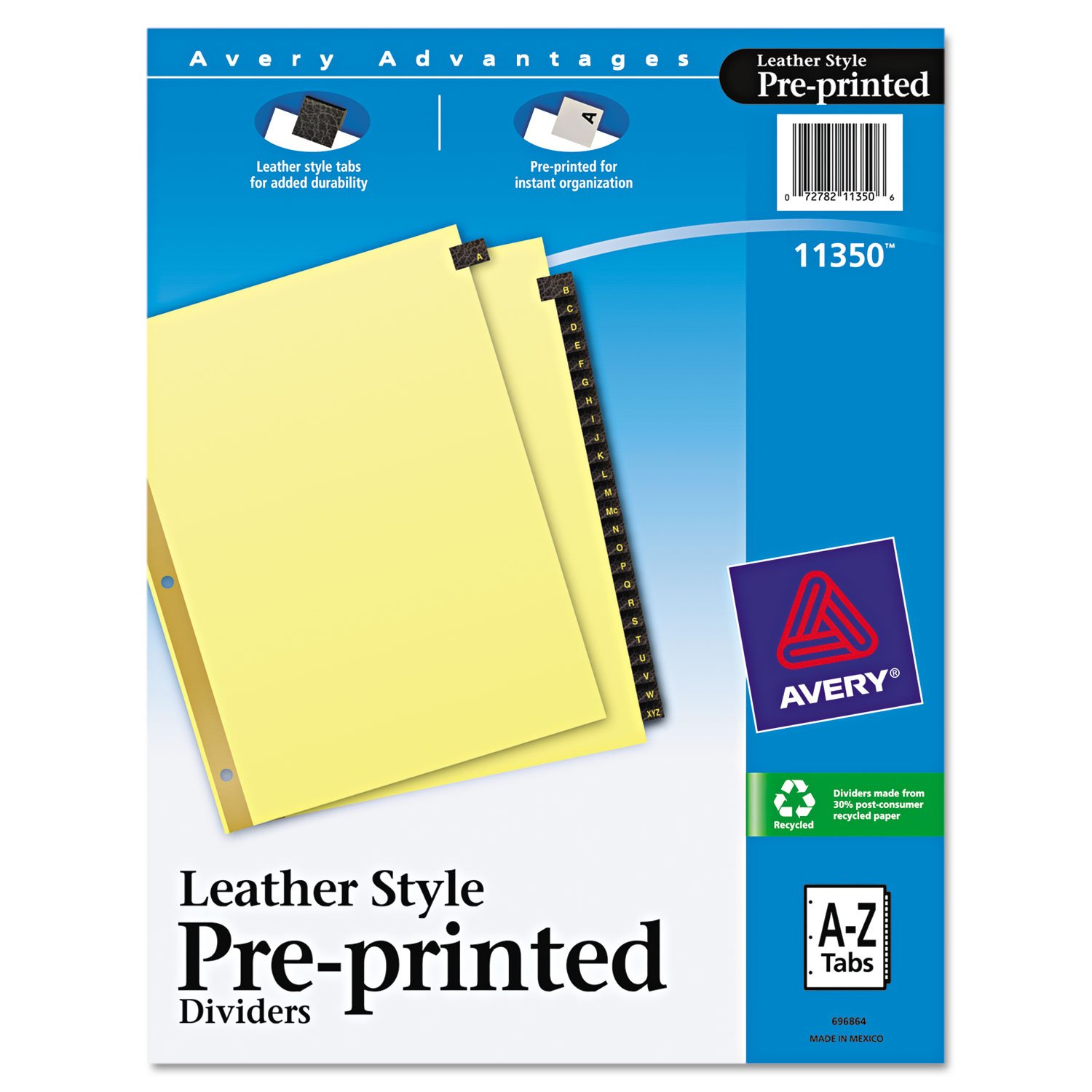 Avery 11350 Black Leather Tab Dividers, A-Z Tabs, 8.5 x 11, Buff, 25 Tabs/Set AVERY-DENNISON-KNM