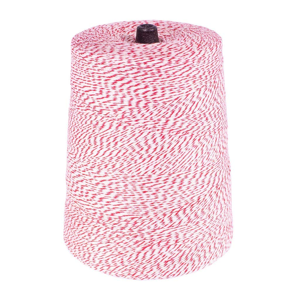 All Purpose Kitchen String Cotton Bakers Twine - 4 Ply x 9600 Ft x Red//White Polyester and Cotton Blended Bakers Cord - 2 Pound Cone Craft String