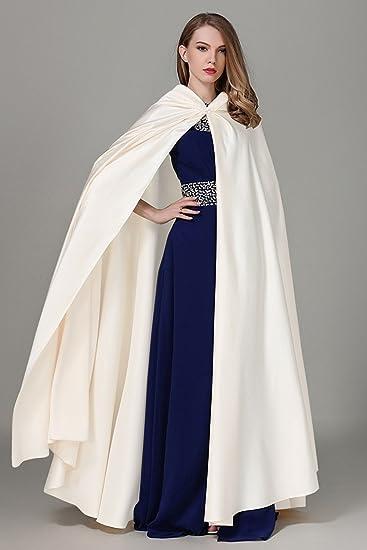 Kengtong Femme Blanc Cape à Capuche Manteau Echarpe pour Robe de Mariage  Satin Blanc Halloween Cérémonie Hiver  Amazon.fr  Vêtements et accessoires 85b655e4e42