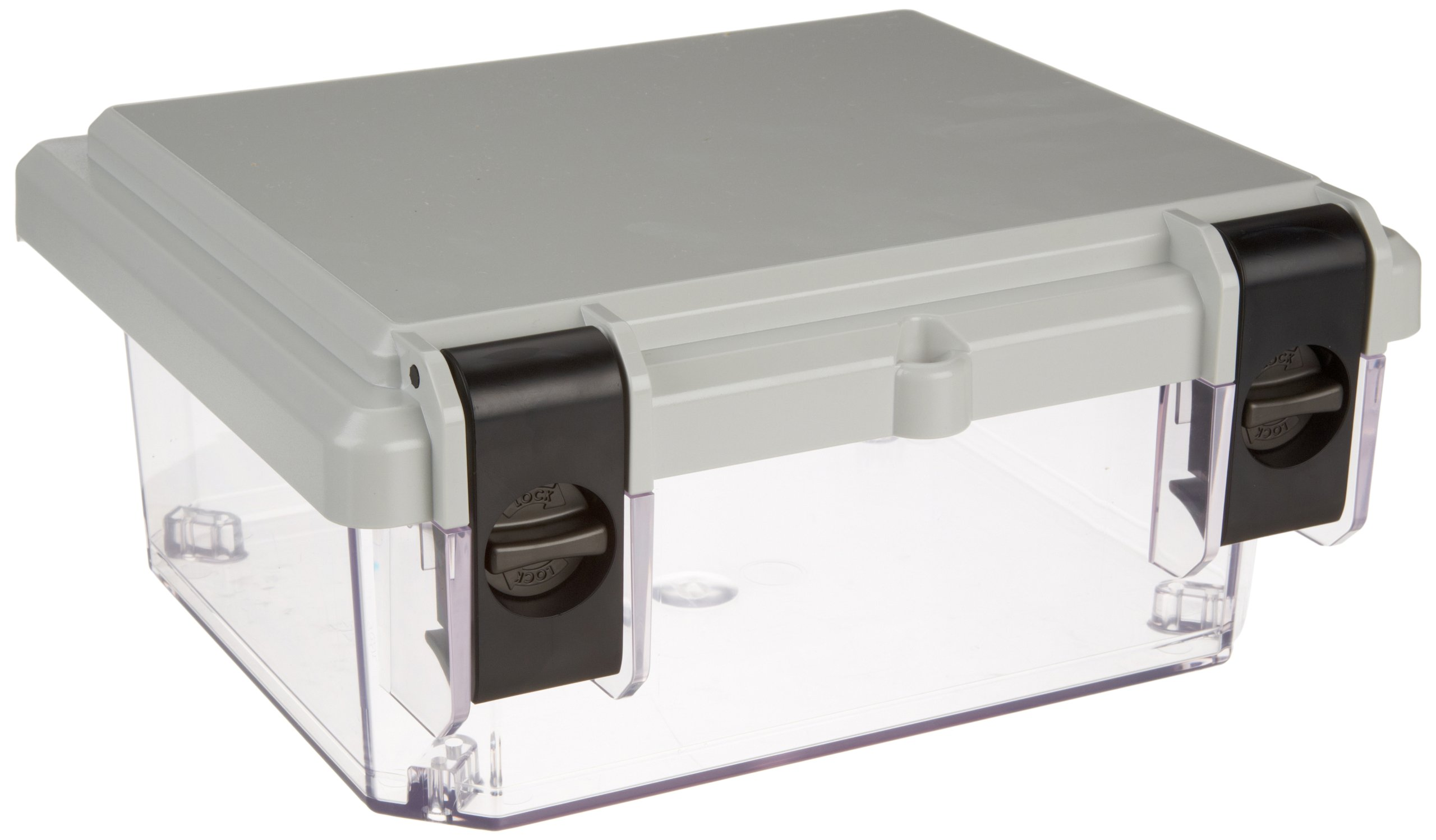 Serpac I342HL Polycarbonate Plastic Enclosure, 11-3/4'' Length x 9.98'' Width x 5.45'' Height, Top Gray/Bottom Clear