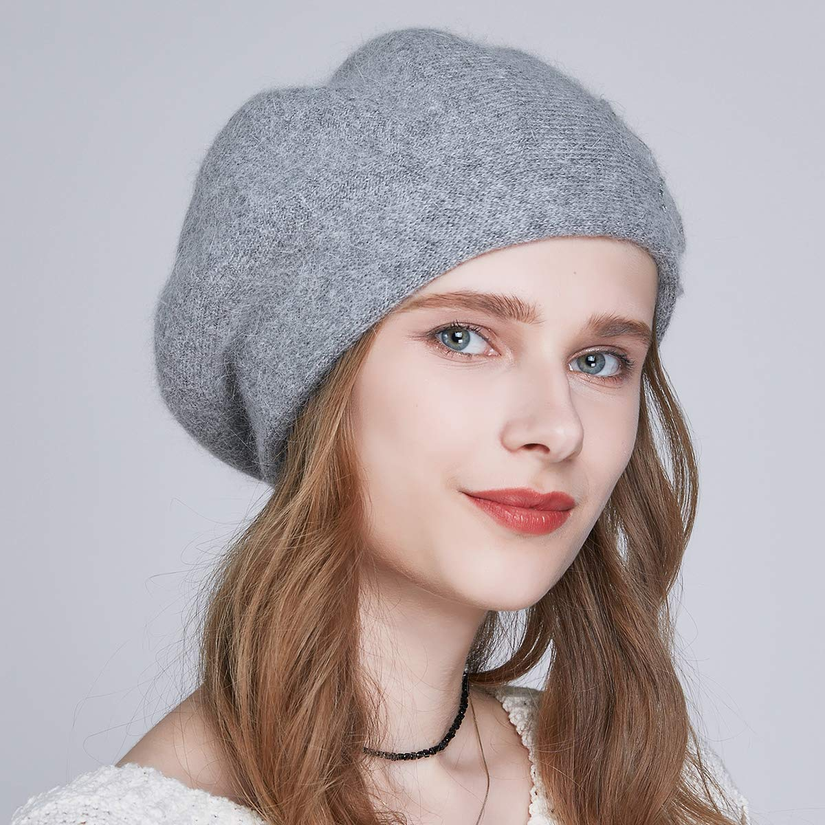 SOMALER Winter Beret Hats for Women French Angora Wool Beret Knit Beanie Lightweight Cap by SOMALER (Image #6)