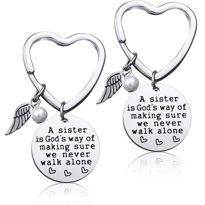 2 Packungen Best Sister Schl/üsselanh/änger Geschenk Freundschaft Schl/üsselanh/änger f/ür Schwestern Geschenk A Sister is Gods Way of Making Sure We Never Walk Alone