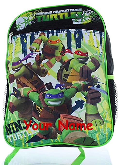 Personalized Nickelodeon TMNT Teenage Mutant Ninja Turtles Characters Out of the Shadows Black and Blue Back to School Backpack Book Bag - 16 Inches