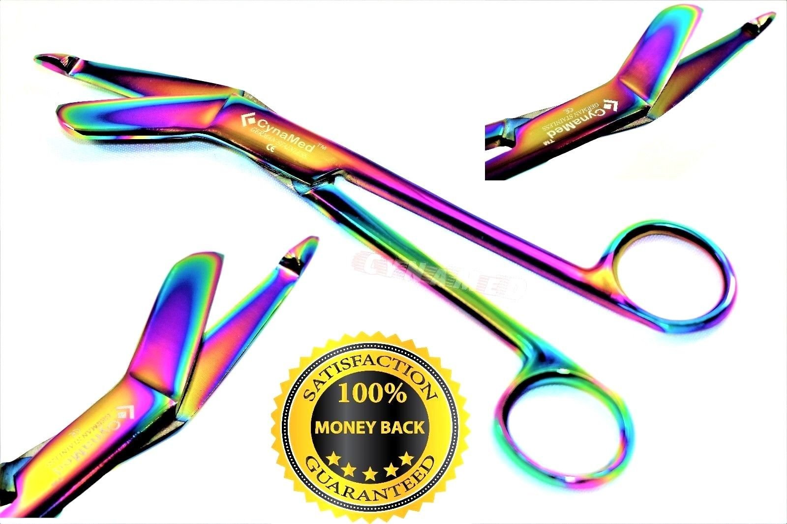 Premium Heavy Duty Lister Bandage Scissors 5.5'' Multi Color Rainbow Color Stainless Steel-(CYNAMED Brand)