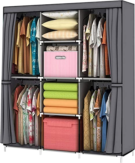 UDEAR Portable Wardrobe Closet Clothes Organizer Non-Woven Fabric Cover with 6 Storage Shelves 2 Hanging Sections and 4 Side Pockets,Beige