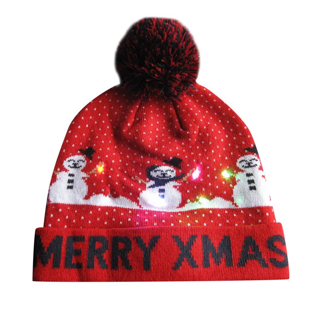 LED Light Up Hat Bonnet Tricot Bonnet lumi/ères color/ées LED No/ël No/ël Hat Beanie Unisexe Hiver Bonnet De Neige Pull Triste Chapeau De Vacances Chapeau De F/ête Bonnet pour Enfants Adulte