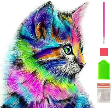 Diamond Painting Full Drill Home Wall Decor Square or Round rhinestones Cat DIY