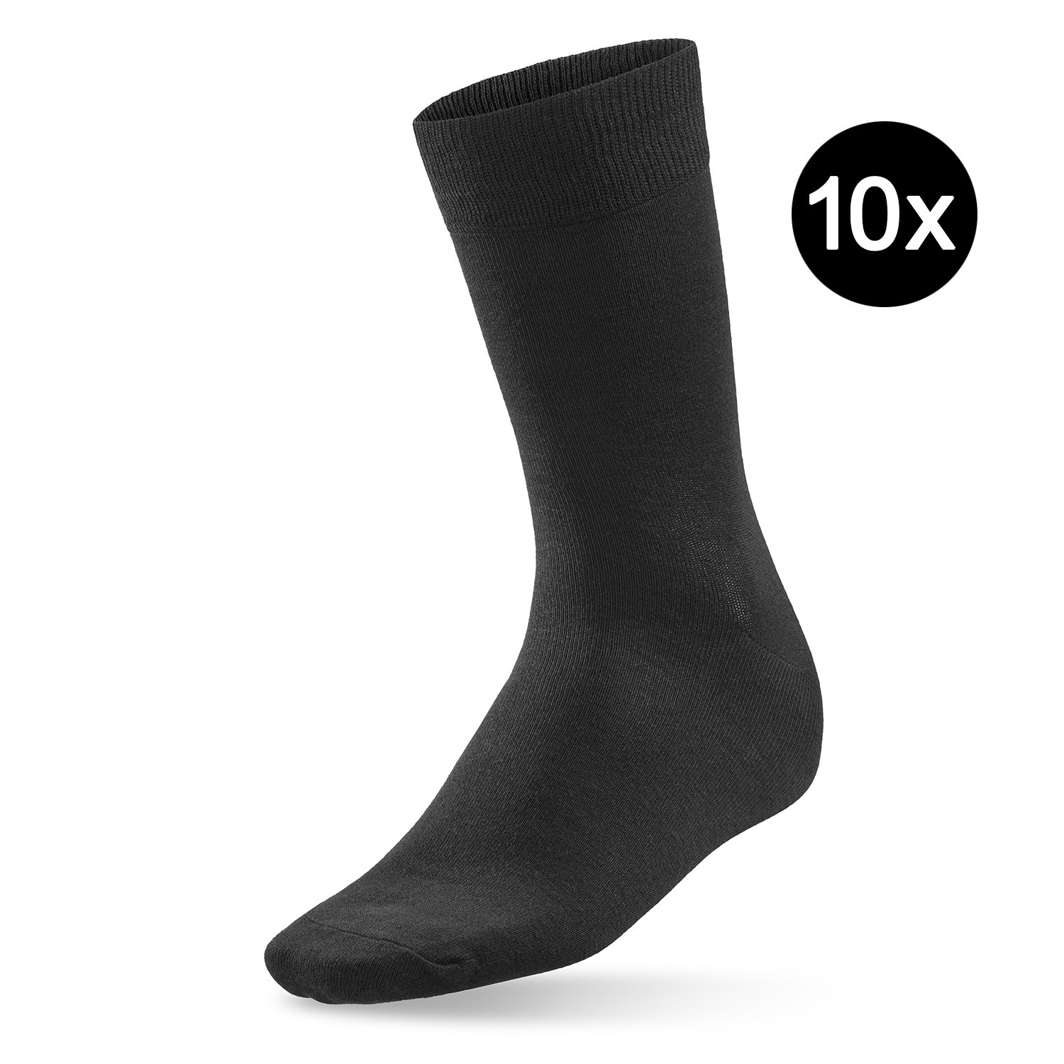 Prime Socks Dailies - 10 pares de calcetines negros para mujer y caballero - calidad de marca - de algodalioso - para trabajo y tiempo libre, 43-46