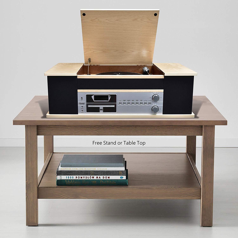 Centro de Música Integrado Shuman con Reproductor de Vinilo Clásico, Radio Dab y FM, Reproductor de CD, Reproductor Bluetooth, Reproducción USB y FM, ...