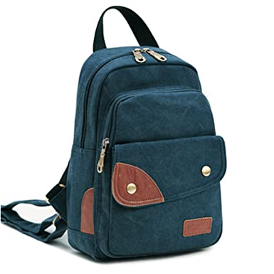 EcoCity Vintage Small Canvas Sling Rucksack Backpack Ipad Bag BP0012B3 (Blue ) f355c14d0e255