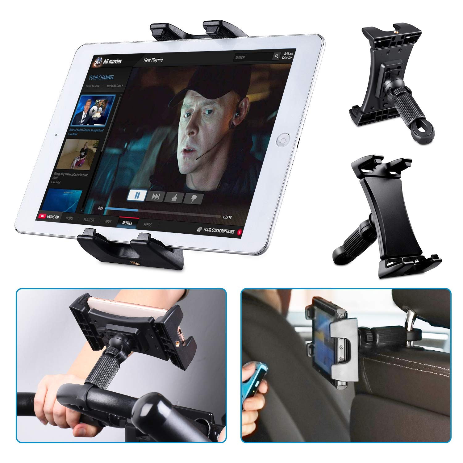 "Tendak Exercise Bike Tablet Holder, Portable Car Headrest Treadmill Exercise Gym Handlebar Microphone Stand Mount 360° Adjustable Bracket for iPad Pro, iPad Mini, iPad Air 4.7-12.9"" Tablets Cell Phone"