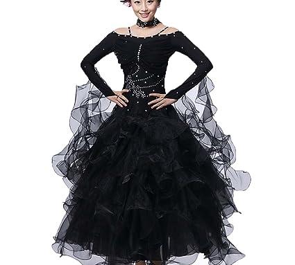 aefe8153b YC WELL Women Ballroom Dance Dress Flamenco Waltz Tango Smooth Ballroom  Dance Costumes (Black,