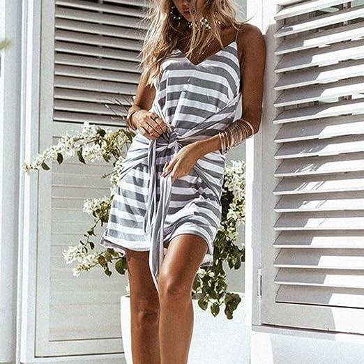 Yesmile 💋💝Vestido de Mujer Vestido Corto Partido Vestido Elegante de Noche para Boda Sexy Vestido de las Mujeres Striped Camis Correa de Espagueti Vendaje ...
