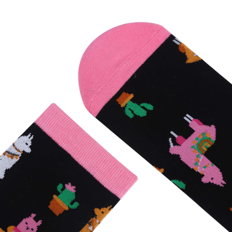 Womens Novelty Llamas Crew Socks Crazy Funny Cactus Casual Animals Dress Socks