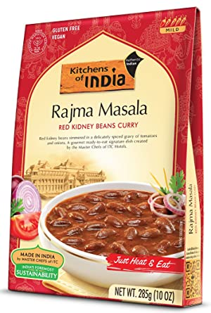 Amazon Com Kitchens Of India Ready To Eat Rajma Masala Red Kidney Bean Currry 10 Ounce Boxes Pack Of 6 Indian Food Grocery Gourmet Food