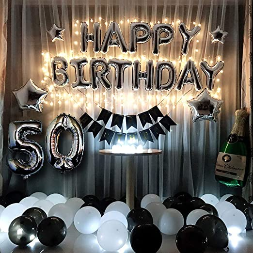 50th Birthday Party Decorations Kit Black and Silver 50th Birthday Party Supplies Happy Birthday Balloons Banner Led String Lights Sliver 50 Foil ...