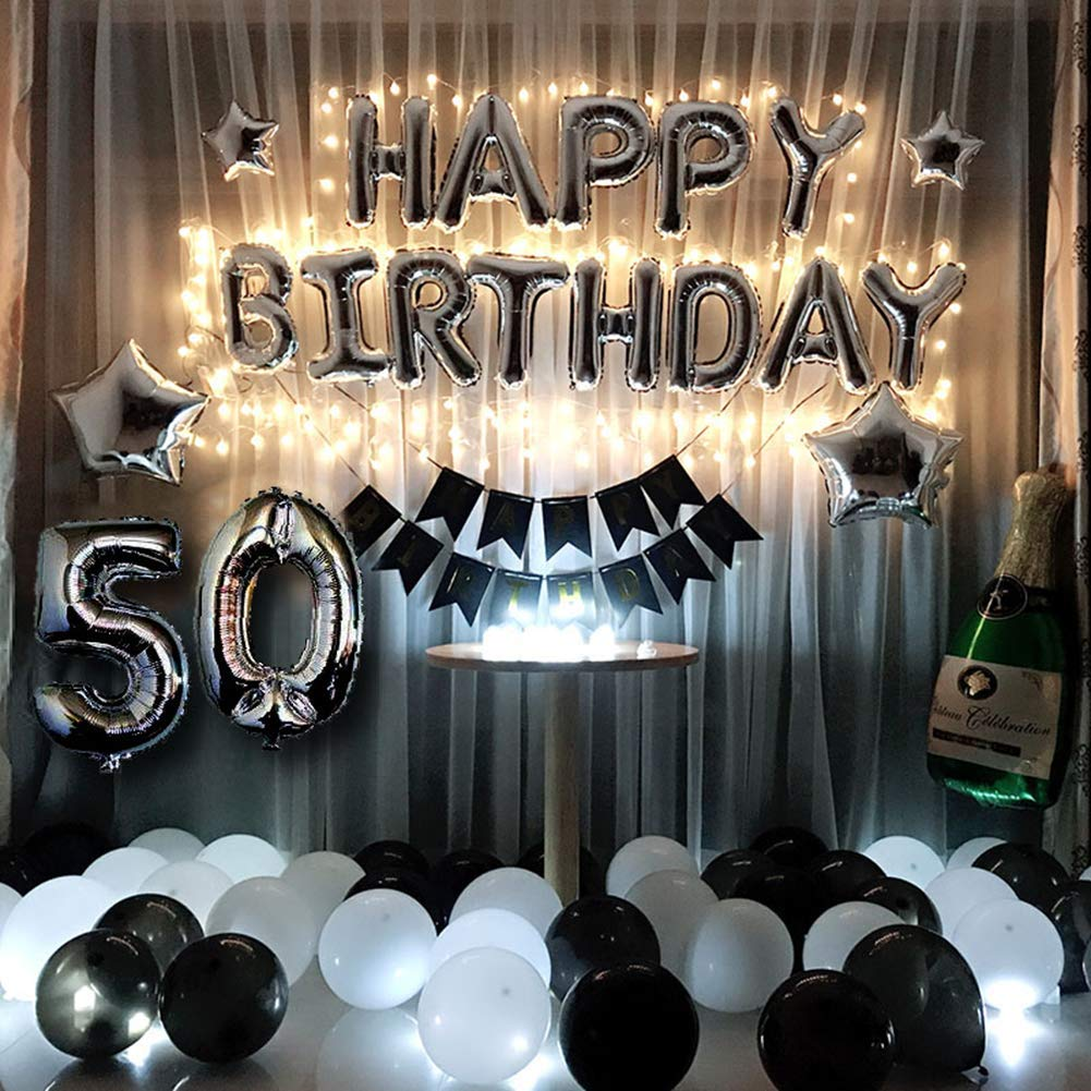 50th Birthday Decorations Kit Black And Silver Men Women Led String Lights Sliver 50 Foil Balloon Happy Banner
