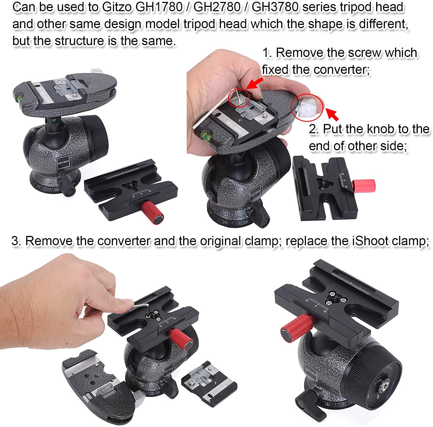 iShoot CNC Machined Quick Release Plate QR Clamp Adapter with 3//8-inch Screw Hole Compatible with SUNWAYFOTO BENRO SIRUI MARSACE Manfrotto Gitzo Arca-Swiss Standard Quick Release Plate and Tripod Head