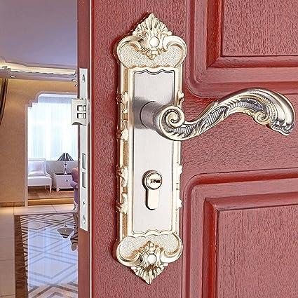 E Support Continental Antique Mechanical Locks Interior Door Gold Handle  Lock Set - E Support Continental Antique Mechanical Locks Interior Door Gold