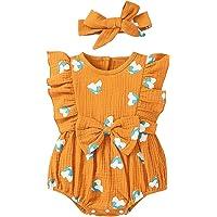 Luckyfashion Newbonr Bebek Kız Tek Parça Tulum Kelebek Tulum Yaz Kıyafetleri + Saç Bandı