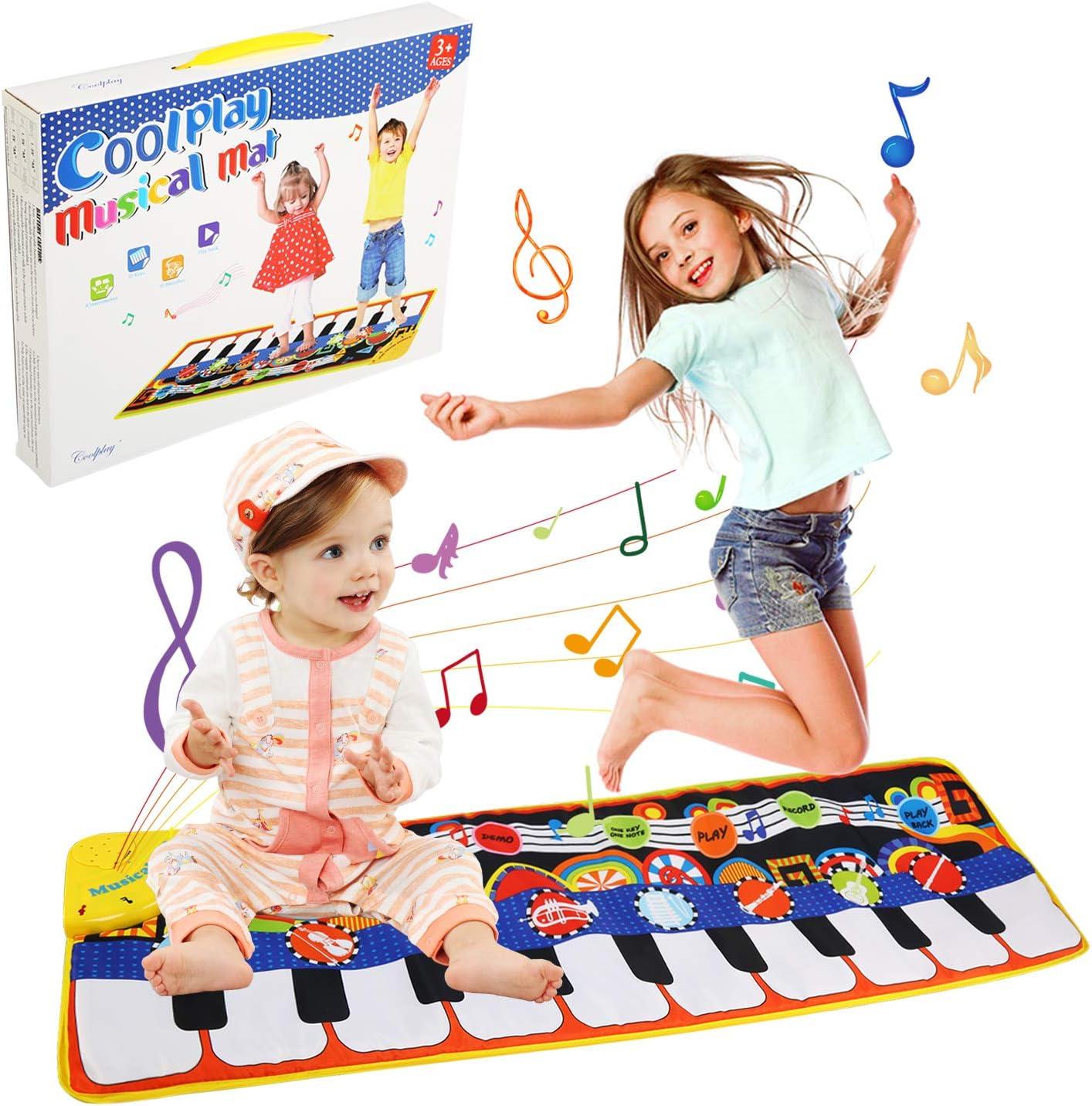 LinStyle Alfombra de Piano, Bailar y Cantar de Teclado Alfombra Musical, Bebé o Niño Pequeño, Piano de Suelo, Alfombra Divertida de Juegos, Manta para Niños (110 * 36 cm)
