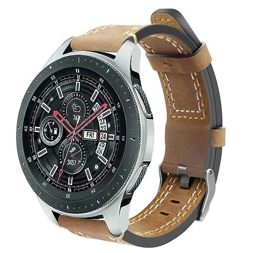 Correa de Repuesto para Reloj Inteligente Samsung Gear S3 Frontier/Classic by/Galaxy Watch de 46 mm, Correa de Piel Mate