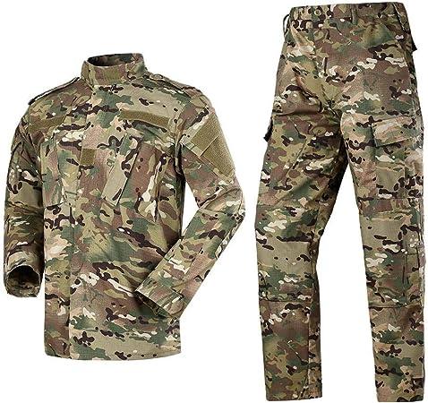 HBSC Manga Lar Ropa táctica Táctico Camuflaje Traje de Combate Exterior Traje Militar Exterior ejército Fan CS Ropa Camisa + Pantalones Camuflaje cómodo A-XXL: Amazon.es: Hogar