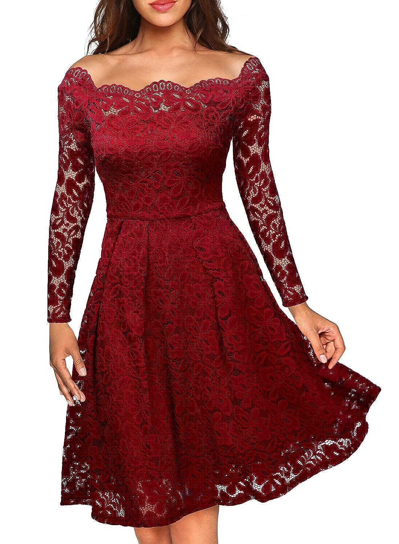 TALLA EU 40/42(Medium). Miusol Vintage Encaje Floral Coctel Vestido Corta para Mujer I-rojo EU 40/42(Medium)