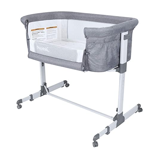 Papablic 2-in-1 Bonni Baby Bassinet Bedside Sleeper, Grey