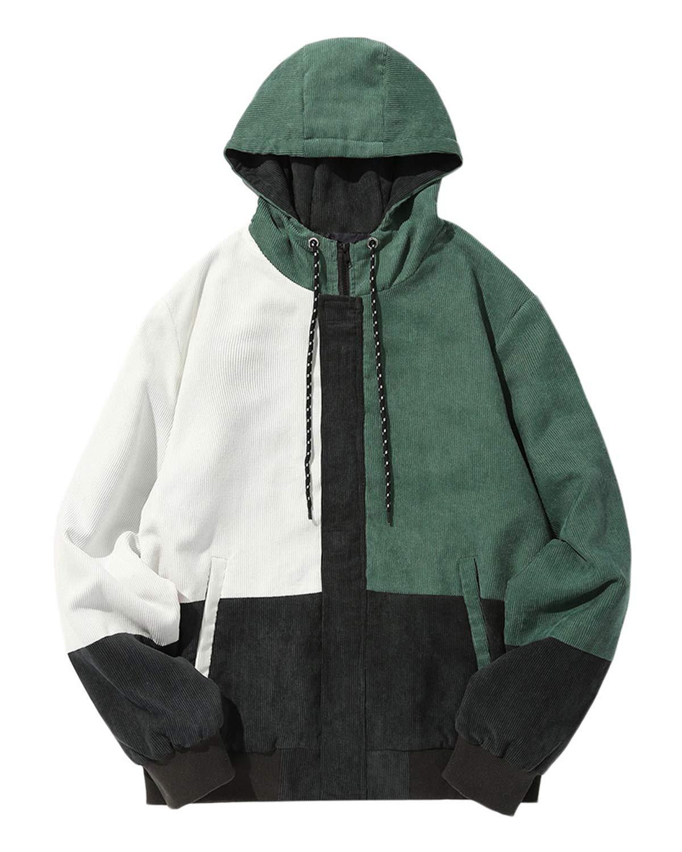 6f331d60e4c ZAFUL Men Color Block Patchwork Corduroy Hooded Jacket Long Sleeve  Oversized Coat Black