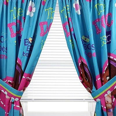 "Kids Warehouse 63"" Decorative Curtain/Drapes 4-Piece Set (2 Panels, 2 Tiebacks) Doc McStuffins Boo Boos Be Gone: Home & Kitchen"