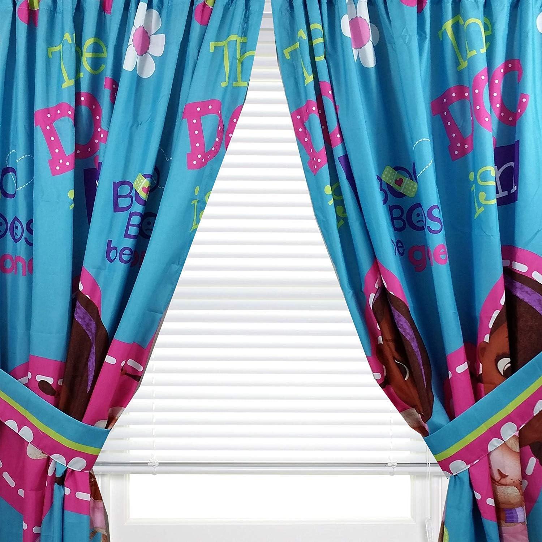 "Kids Warehouse 63"" Decorative Curtain/Drapes 4-Piece Set (2 Panels, 2 Tiebacks) Doc McStuffins Boo Boos Be Gone"