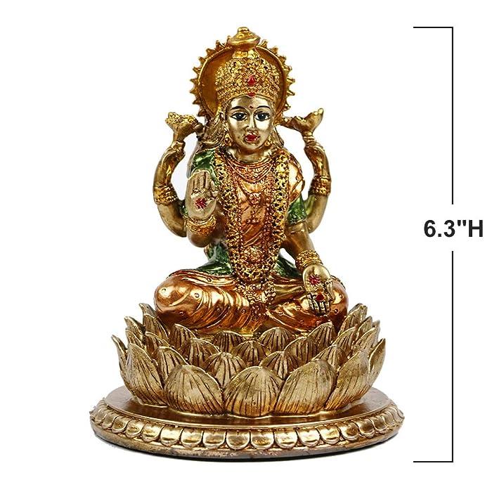 "6.3""H Lakshmi On Lotus Polystone in Antique Gold, lndian Laxmi Statue Hindu Murti Figurine for India Buddha for Home Temple Mandir Hindu Gods and Goddesses for Diwali Party Present Birthday"