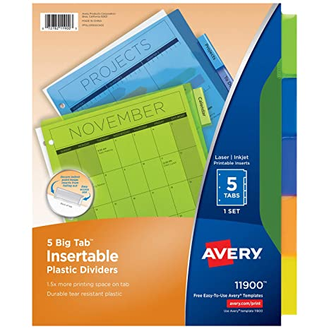 Amazon Avery 5 Tab Plastic Binder Dividers Insertable