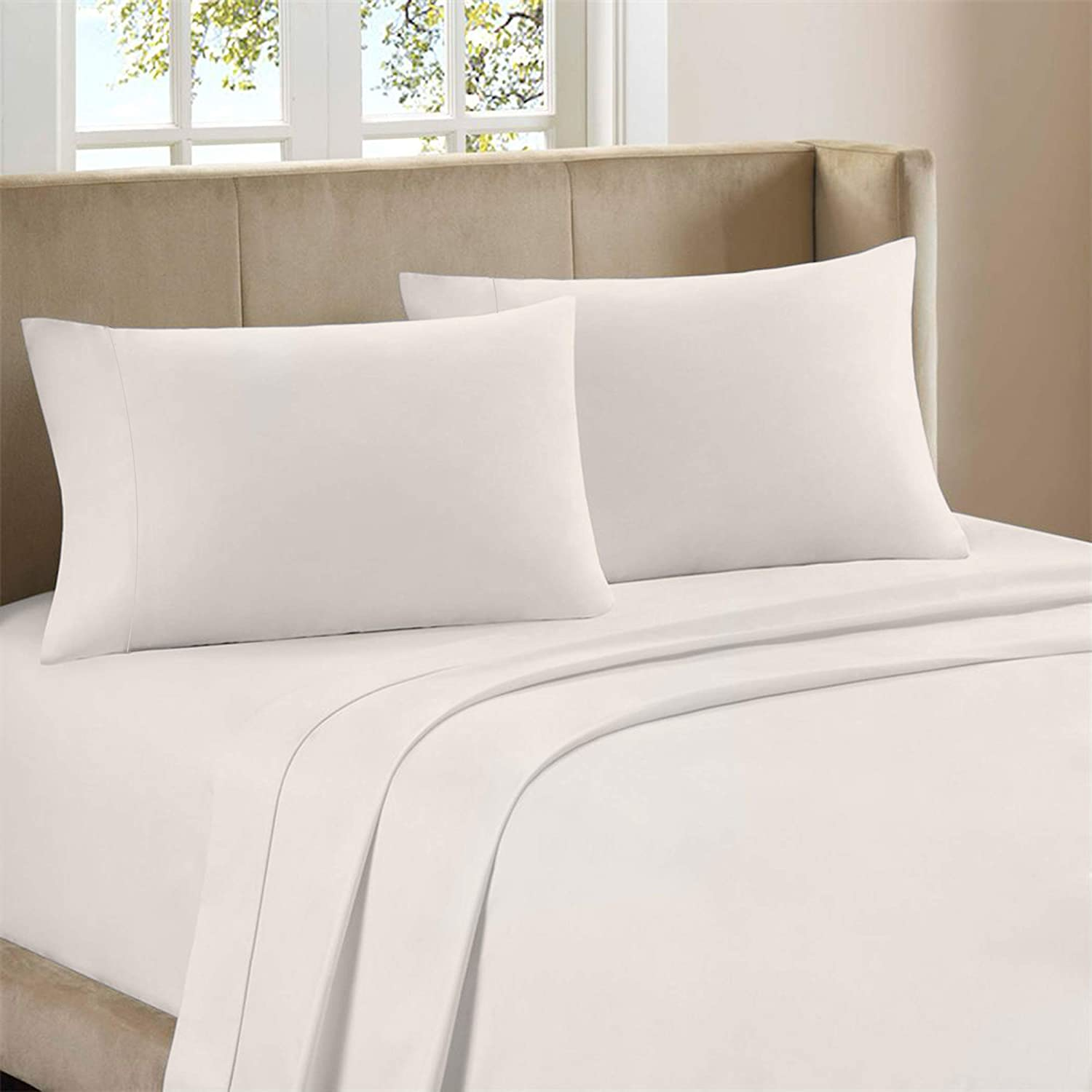 Purity Home Soft & Light Weight 100% Combed Compact Cotton Sheet Set, 4 Piece Set, Bedding King Sheets Percale Weave, Cool & Breathable, Moisture Wicking, Fitted Sheet Fits Upto 18