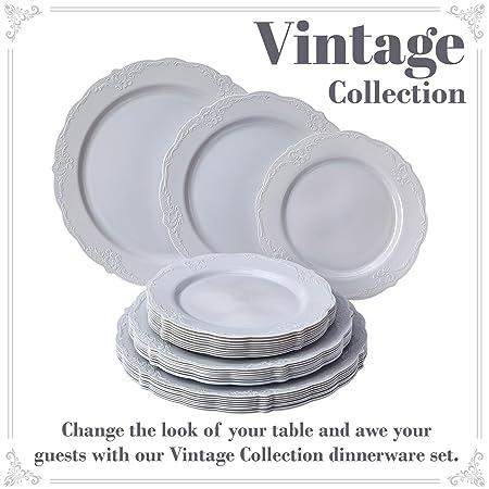VAJILLA PARA FIESTAS DESECHABLE DE 30 PIEZAS | 10 platos grandes | 10 platos para ensalada | 10 platos para postre | Platos de plástico resistente | Para ...