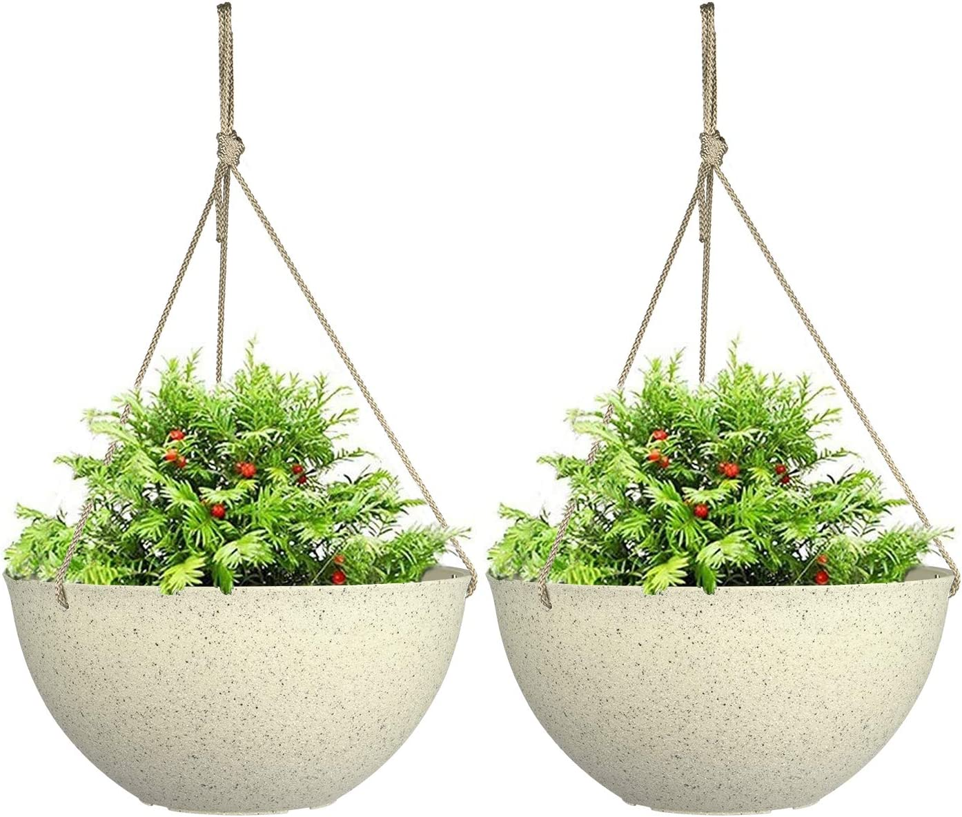 """Large Hanging Planters for Outdoor Indoor Plants,Speckled Yellow Hanging Flower Pots(13.2"""",Set of 2)"""
