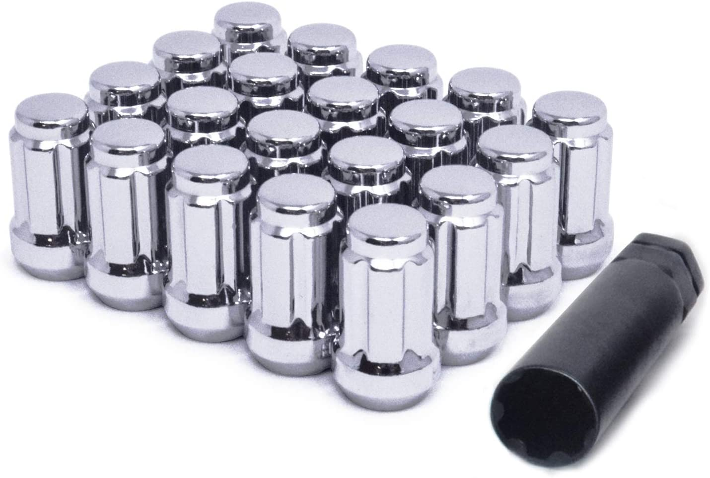 WHEEL CONNECT Spline Lug Bolts,12x1.5,Acorn for Conical Seat Chrome Finish.M12 X 1.50. Steel for Aftermarket Custom Tuner Wheel Set of 20 with 1 Key and 1 Storage Bag