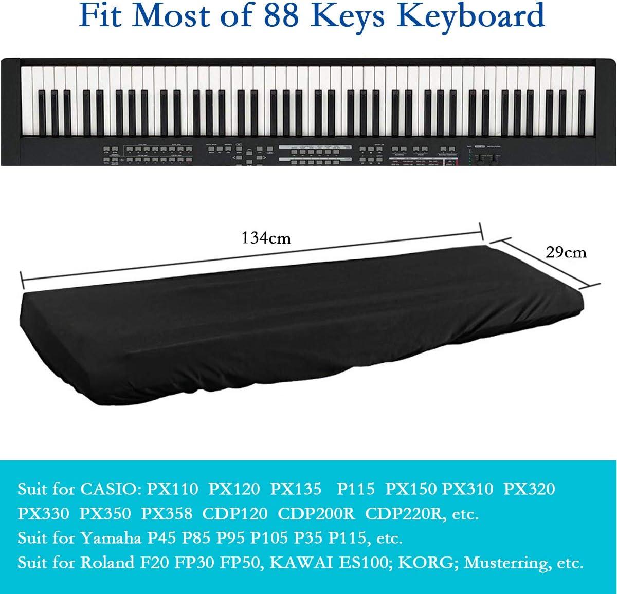 Herefun Cubierta para el teclado de piano, Funda Piano 88 Teclas, cordón elástico ajustable, impermeable electrónica teclado de Piano Dust Cover ...