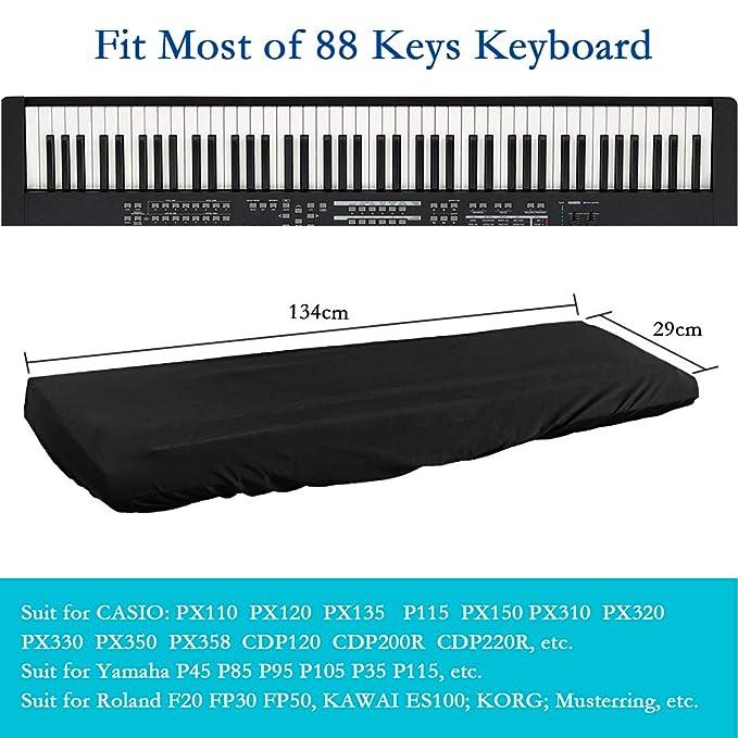 Cubierta para el teclado de piano, Funda Piano 88 Teclas, cordón elástico ajustable, impermeable electrónica teclado de Piano Dust Cover teclado - Negro: ...