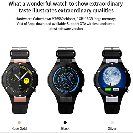 Amazon.com: H2 Smart Watch Android 5.1 3G Smartwatch MTK6580 ...