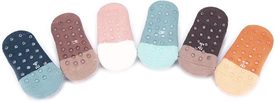 Adorel Calcetines Antideslizantes para Beb/é Ni/ños Lote de 6