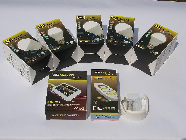 Mi-Light 2,4G 1 x Fernbedienung 4 Zonen + 1 x Halter für FB + 5 x E27 LED RGB+warm weiß Lampe 6 Watt original MILIGHT® , dimmbar, RGB Farbwechsel + Mi-Light Wlan Controller IBOX2 ,ansteuerbar via App IOS   Android